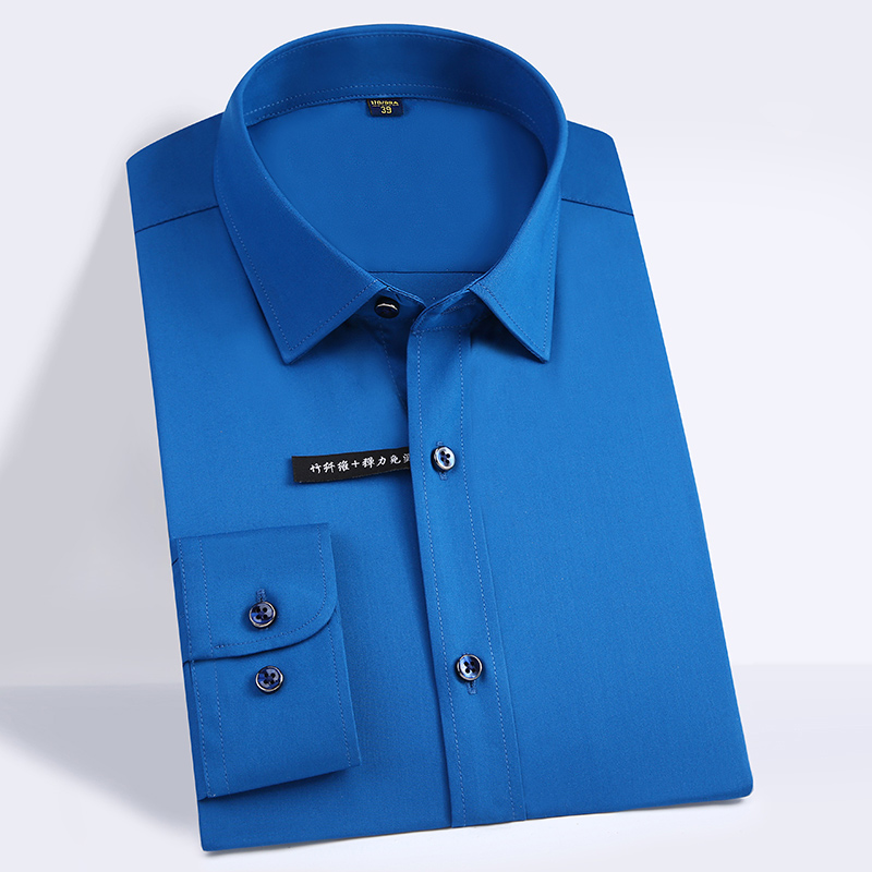 High Quality Classic Style Bamboo Fiber Men Dress Shirt Solid Color Men's Social Shirts Office Wear Easy Care(Regular Fit) 14