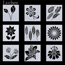 Lychee Life 9pcs Floral Pattern Stencils DIY Craft Layering Stencils for Scrapbooking Album Decoration Card Template