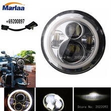 7 inch Round Motorcycle LED Headlight For Harley DRL with white Halo Angel Eyes H4