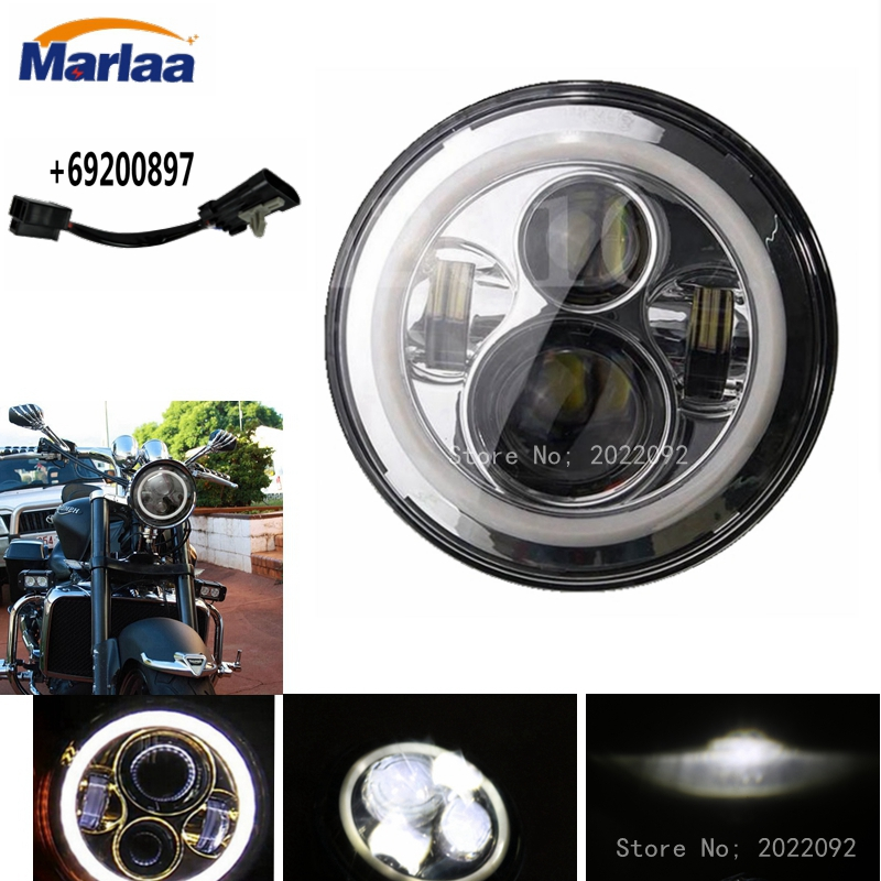 Marlaa 7 inch Round Motorcycle LED Headlight For Harley DRL with white Halo Angel Eyes H4