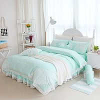 WINLIFE Luxurious Embroidered Lace Bedding Set Brand 100% Cotton Fairy Girls Bed Cover Queen Twin