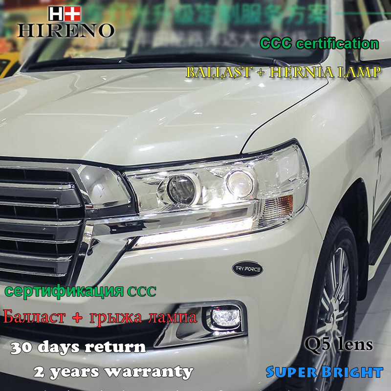Hireno Headlamp for 2016 Toyota Land Cruiser Headlight Assembly LED DRL Angel Lens Double Beam HID Xenon 2pcs 2pcs purple blue red green led demon eyes for bixenon projector lens hella5 q5 2 5inch and 3 0inch headlight angel devil demon