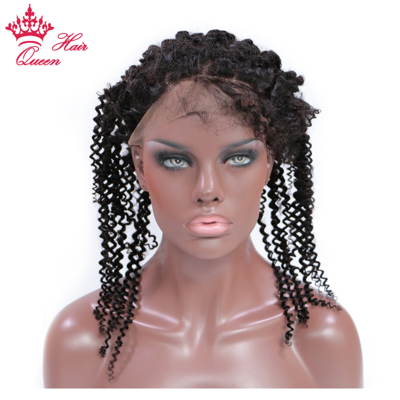 360 Lace Frontal Brazilian Kinky Curly Lace Closure Natural Color  Remy Human Hair Frontal with Baby Hair 12-20 Queen Hair