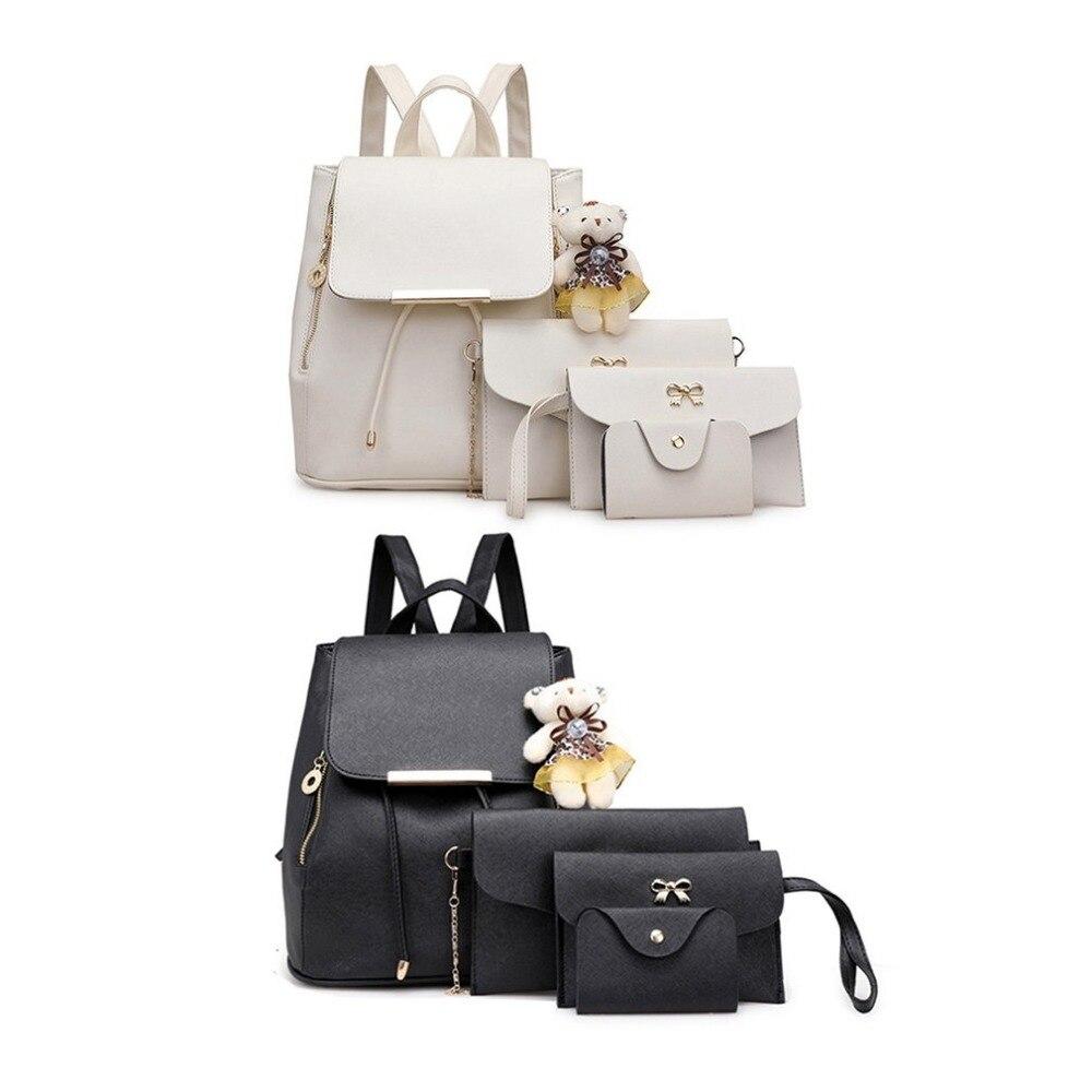 2211f6e3c448b 4PCS/SET Large Capacity Soft PU Leather Composite Bag Korean Fashion ...