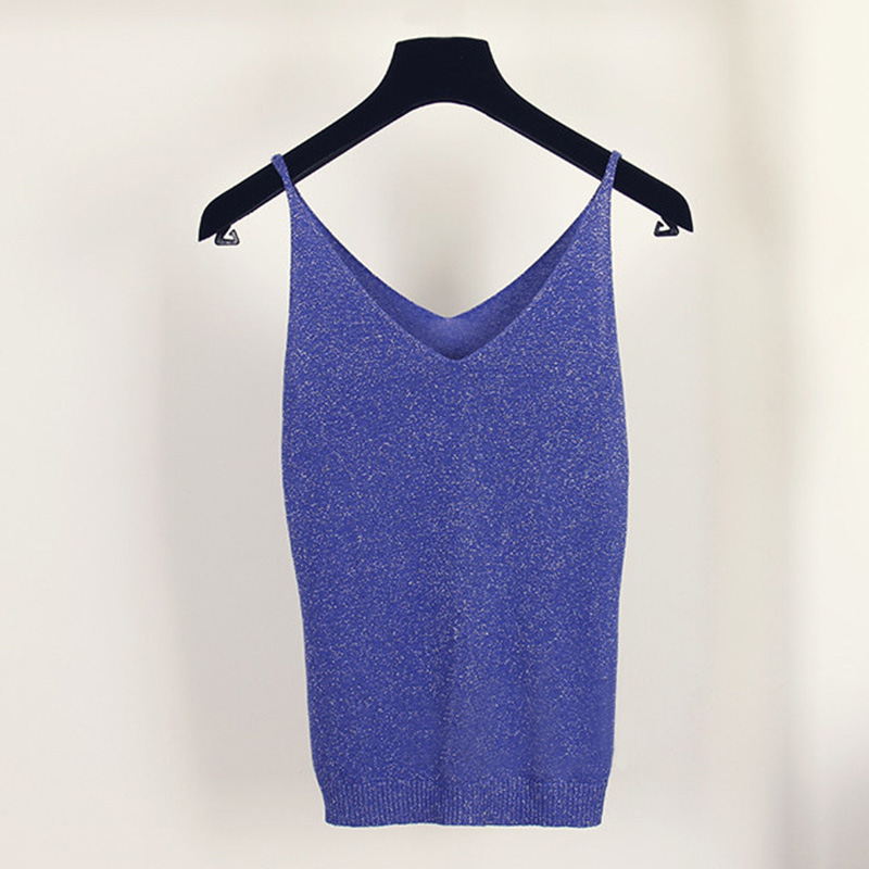 Glittering Knitted Women Camisole Vest Stretchable V Neck Slim Sexy Strappy bodycon   Tank     Tops   sleeveless candy color   Top   shirts