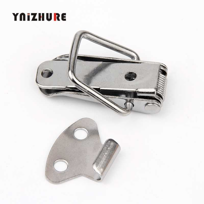 Hasp Luggage Lock Hardware Cabinet Boxes Spring Loaded Latch Catch Toggle 46*20mm Steel Hasp For Sliding Door Hardware Window