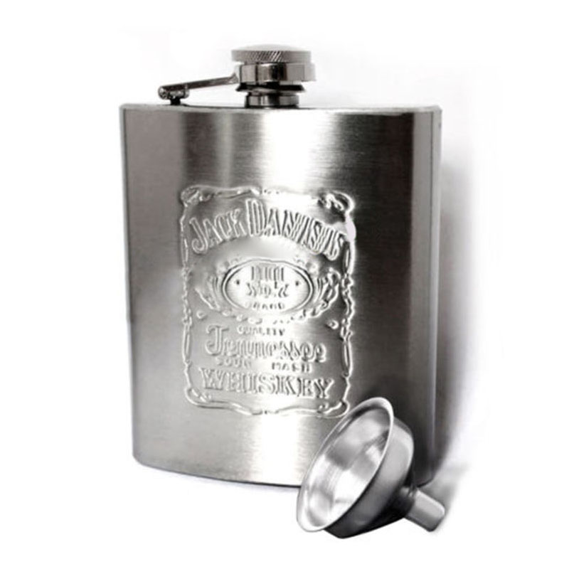 7OZ Portable Stainless Steel Hip Flask Wine Tube Whisky Alcohol Drinkware