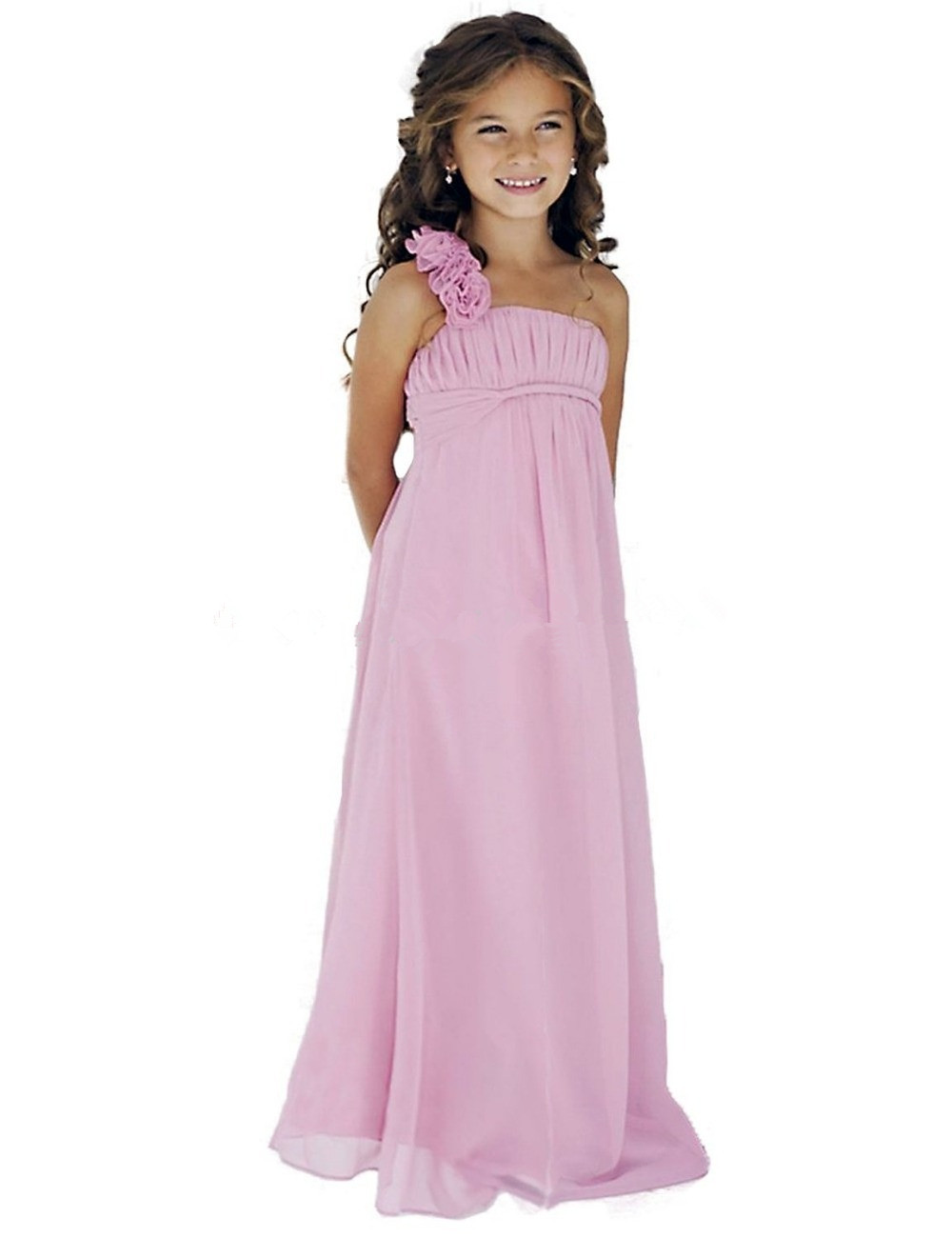 2016 Real Simple Pink Chiffon Long Flower Girl Dresses For Beach