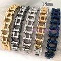 18 mm largura aço inoxidável 316L moda prata e ouro e preto e azul resistente motocicleta legal homens pulseira de frete grátis 23 cm * 18 mm