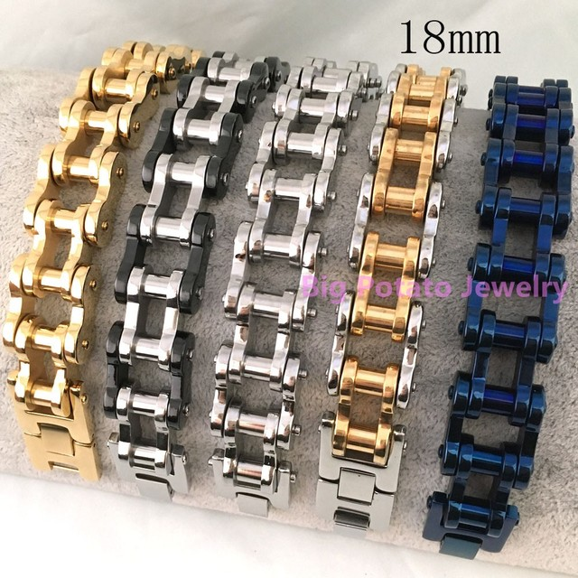 18mm Width Trendy 316L Stainless Steel Silver&Gold&Black&Blue Heavy Duty Motorcycle Cool Men's  Bracelet Free Shipping 23cm*18mm