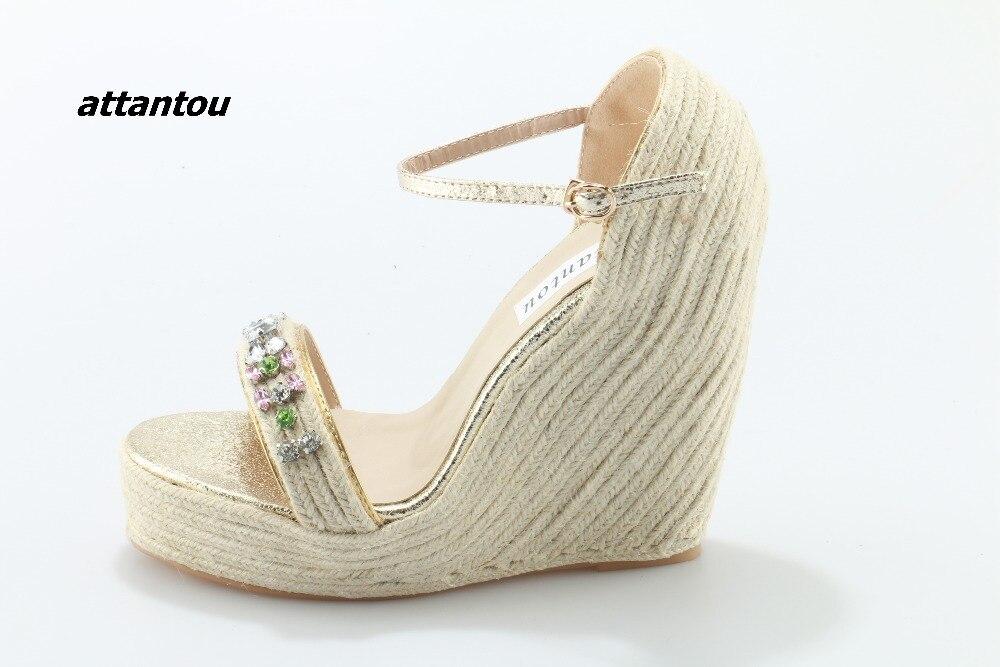Модные плетеные сандалии с пряжками; стильная цветная кристальная палочка расклешенное платье; босоножки; модная обувь на платформе - 3
