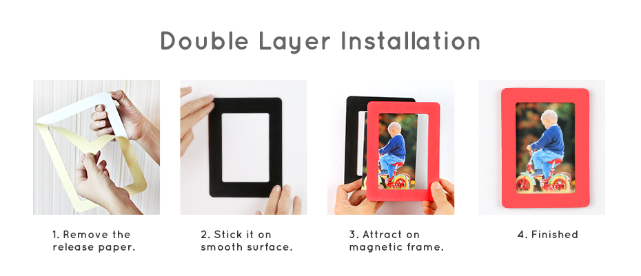 930_12 Colorful Magnetic Picture Frames Photo Fridge Magnets Photo frame Refrigerator Magnetic Photo Frames Wall Decor with EVA Surface