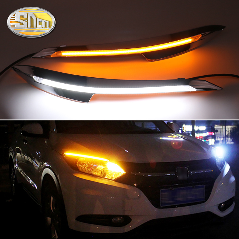 For <font><b>Honda</b></font> HR-V <font><b>HRV</b></font> 2015-2018 , Car Styling LED <font><b>Headlight</b></font> Brow Eyebrow Daytime Running Light DRL With Yellow Turn signal Light image
