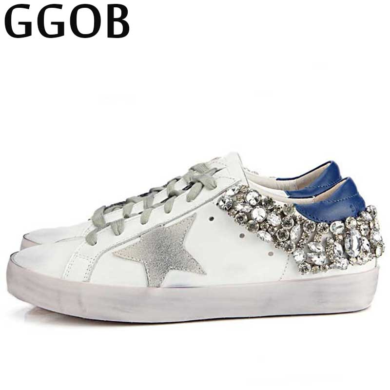 GGOB 2018 Casual Genuine Leather Flat Shoes Women Korean Brand Handmade Vintage Distressed Lace-up Glittering Star Cowhide Shoes disney пенал тубус софия