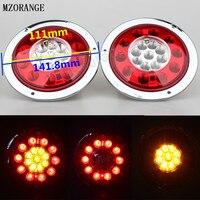 טבעת פלדה עגולה MZORANGE 2 יחידות 19 LED רכב צד מנורת LED אור בלם עצור הפעל זנב לטריילר משאית משאית אור נירוסטה