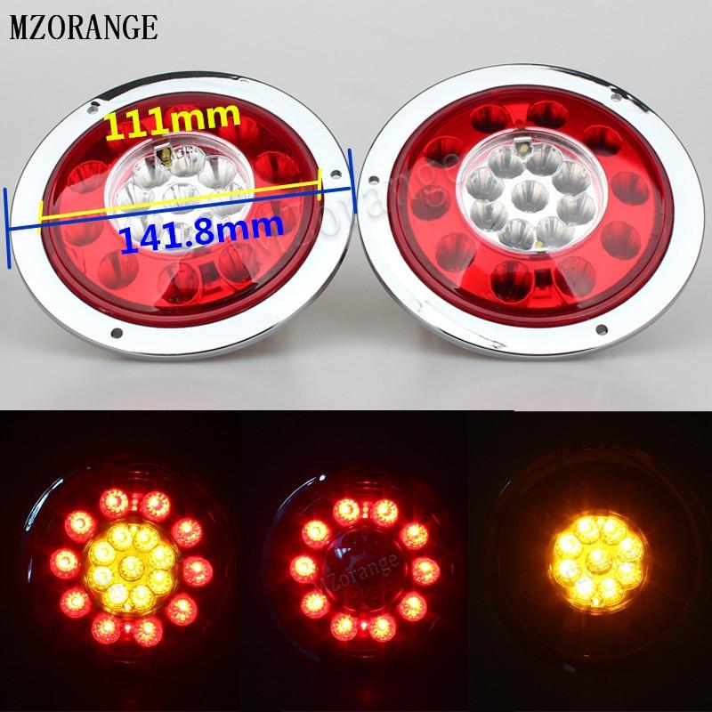 MZORANGE 2Pcs Round Steel Ring 19 LED Car Side LED Lamp Light For Truck Trailer Lorry Brake Stop Turn Tail Light Stainless