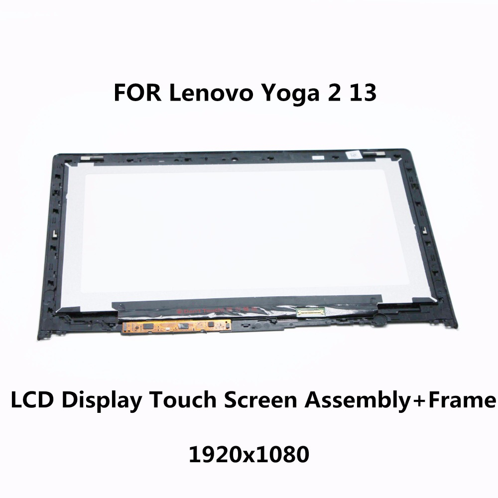 Laptop LCD Screen+Touch Glass Digitizer+ Frame B133HAN02.0 LP133WF2 SP A1 For Lenovo Yoga 2 13 LCD Display Assembly 1920X1080 new original for lenovo yoga 2 pro 13 ltn133yl01 l01 laptop lcd touch screen assembly