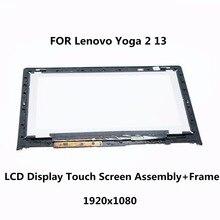 Laptop tela lcd + de toque digitador de vidro + quadro b133han02.0 lp133wf2 sp a1 para lenovo yoga 2 13 lcd conjunto do visor 1920×1080