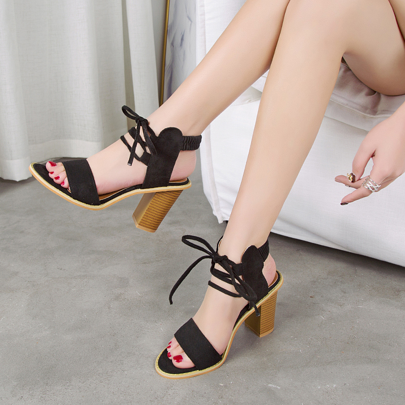 womens Sandals Chic Style 2019 Brand New fashion gladiator high Heels Office Lady women ankle strap Shoes Y10013 high heels