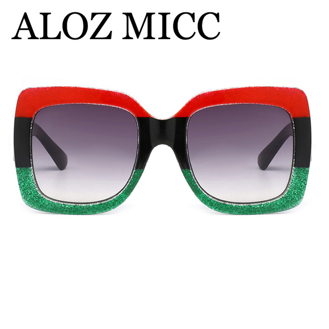 ALOZ MICC Luxury Brand Design Square Sunglasses Women Men Crystal Big Frame Sun Glasses Vintage Shades Oculos UV400 Q04