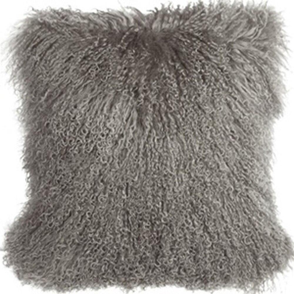 gray mongolian fur pillow cover tibetan fur cushion cover decorative pillows sheepskin cushion covers capa de almofada cojines