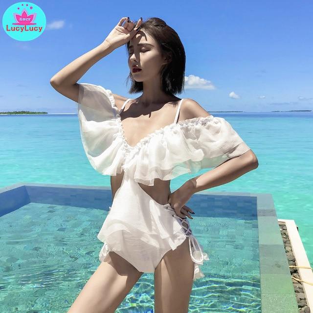2019 summer new sexy tight white swimsuit female sense small chest gathered seaside holiday bikini Ruffles  Beach Style