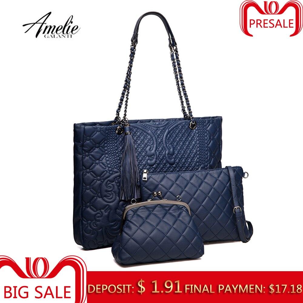 AMELIE GALANTI Женская сумка Сумка в сумке комплект в трёх Цепные ручки С вышивкой Наплечная сумка