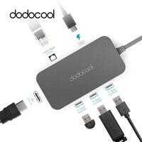 dodocool Type C Hub Aluminum USB Hub USB C Hub with Type C PD Video HD RJ 45 Gigabit Ethernet Adapter USB 3.0 Hub for MacBook