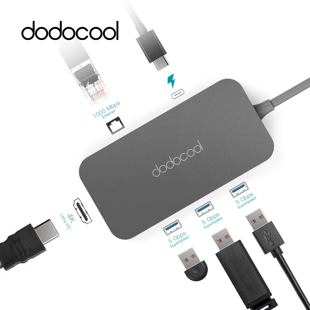 Dodocool Tipo-C Mozzo In Alluminio Hub USB Hub con il Tipo di USB-C-C PD Video HD RJ-45 Gigabit Ethernet adattatore USB 3.0 Hub per MacBook