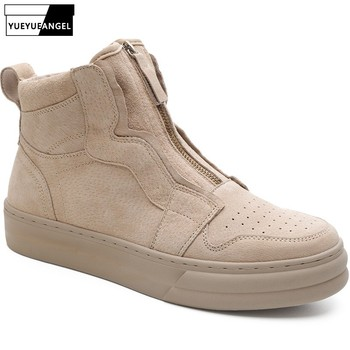 2019 New Designer Military Desert Genuine Leather Boots Men Spring Autumn Zipper Ankle Boots High Quality Casual Round Toe Shoes