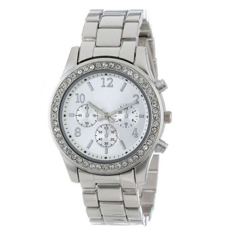 Excellent Quality fashion quartz watches new luxury womens full stainless steel crystals watches dial quartz watches for gift