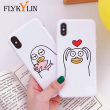 FLYKYLIN Cartoon Duck Phone Case For iphone X Case For iphone 6S 6 7 8 Plus Cute Emoji Back Cover Glossy Soft TPU Silicone Cases