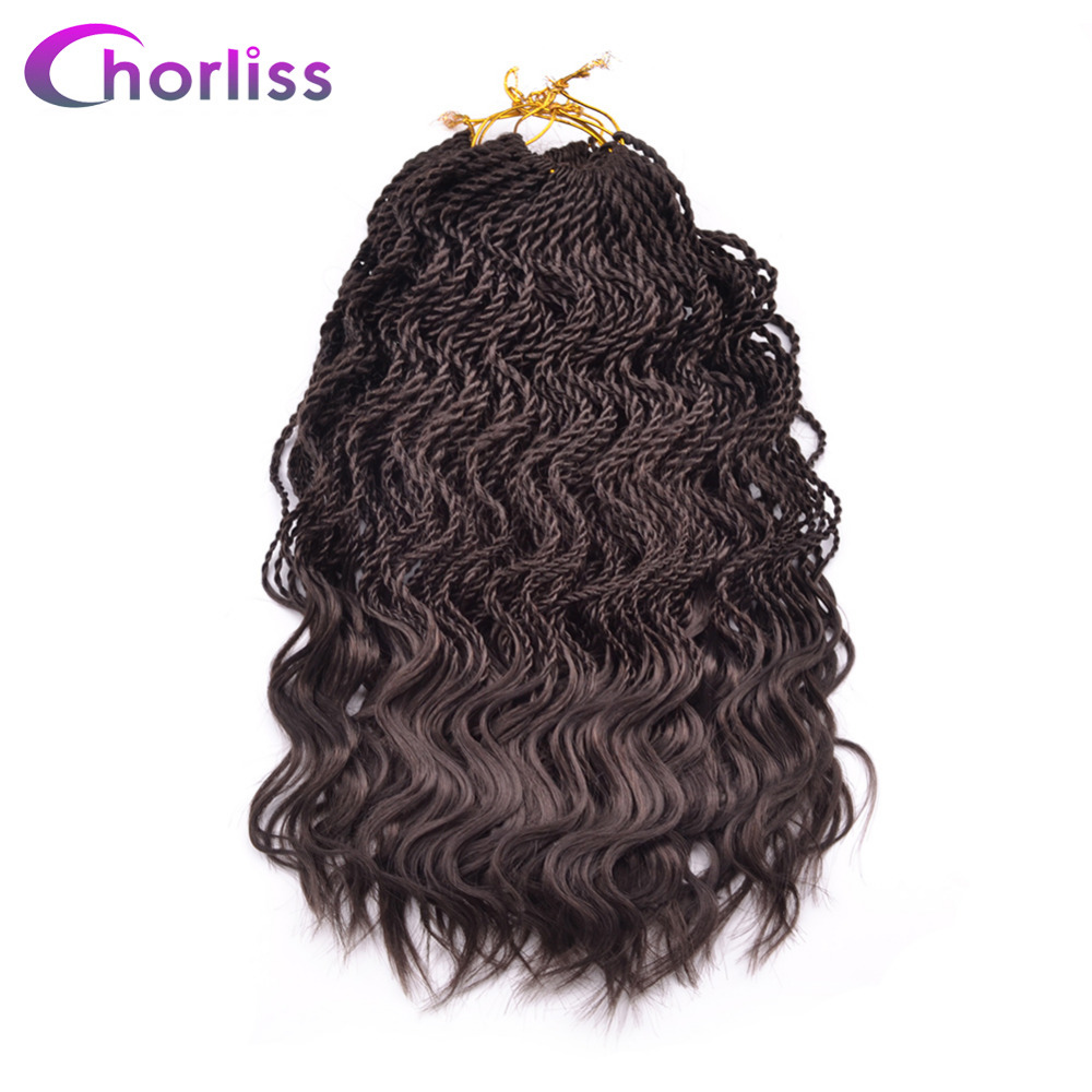 Chorliss 14 Curly Senegalese Crochet Braids Twist Synthetic Braiding Hair Extension Ombre 35 Roots Pack Low
