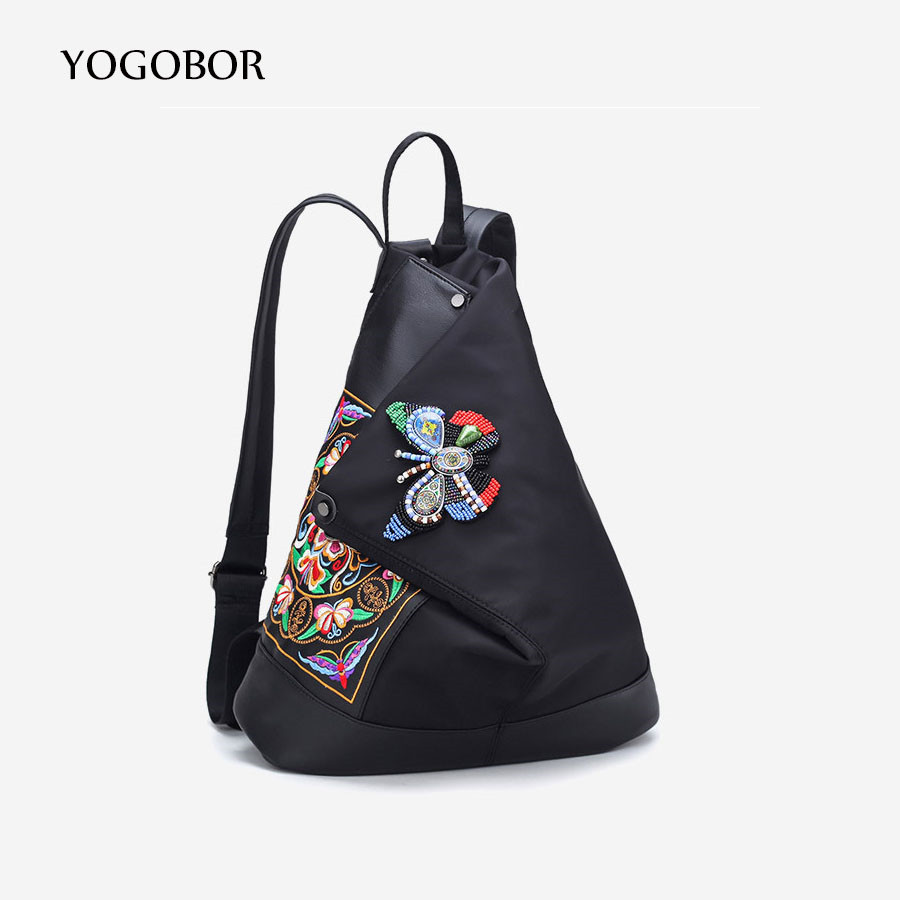 School bag embroidery - Yogobor Brand Lady New Embroidery Unique Nice School Bag Ethinic Travel Rucksack Shoulder Bags Women National