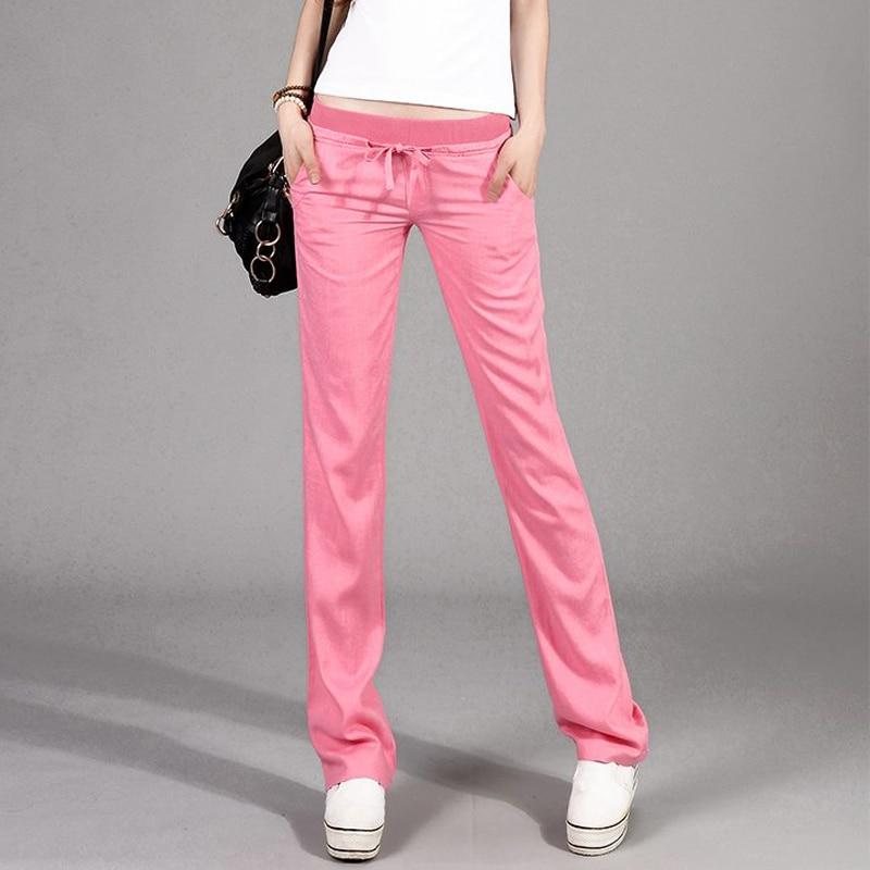 الربيع الصيف نمط جديد أزياء كل مباراة ركاب الكتان الكتان عارضة مرونة الخصر السراويل المستقيمة النساء pantalon فام 4 ألوان