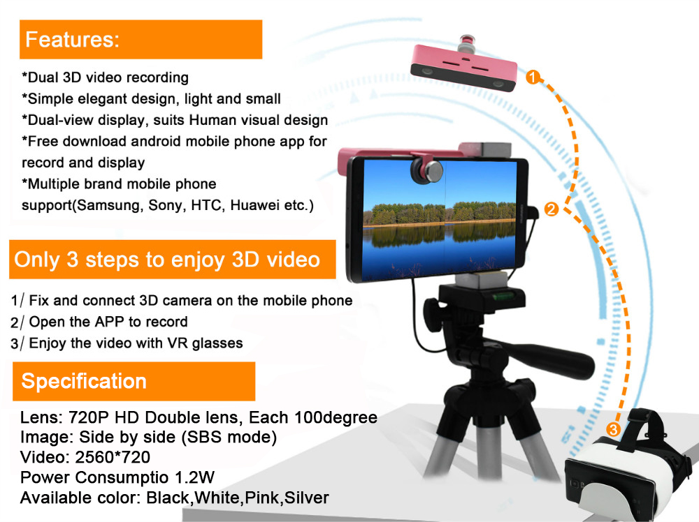 SVPRO 3D VR Digital Camera for Android Mobile Phone External Camera Micro USB Camera With HD Video SBS Image