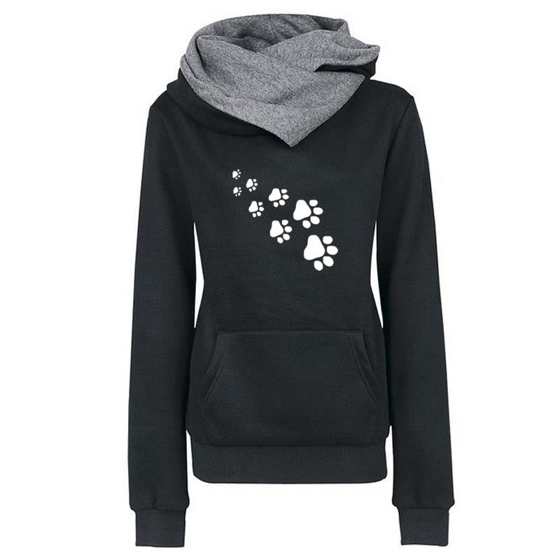 New Fashion Cat Dog Paw Print Sweatshirts Hoodies Women Tops Pockets Cotton Female Cropped Street Thick Winter Or Sping 5