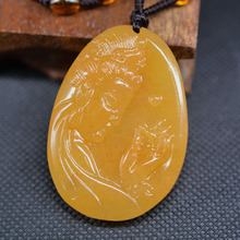 Drop Shipping Hand Carved YunNan HuangLong Jade Guan Yin Buddha Pendant Stone Necklace Lucky Amulet With Chain Gift