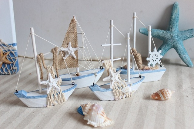 Mini Wooden Sailing For Home Furnishing Decor Boat Office Ship Decoration