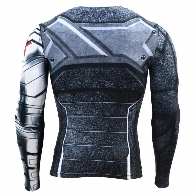 겨울 군인 3D 인쇄 된 스포츠 셔츠 남자 실행 셔츠 피트 니스 스타킹 남자 사이클링 빠른 드라이 Rashguard MMA 압축 탑스