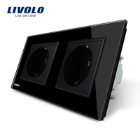 Free Shipping Livolo EU Standard Wall Power Socket Black Crystal Glass Panel AC110 250V 16A Wall
