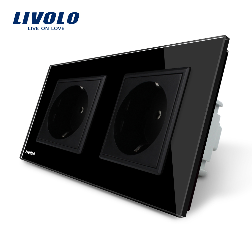 Livolo Manufacturer  EU Standard Wall Power Socket, Black Crystal Glass Panel, AC110~250V 16A Wall Outlet  VL-C7C2EU-12 atlantic brand double tel socket luxury wall telephone outlet acrylic crystal mirror panel electrical jack