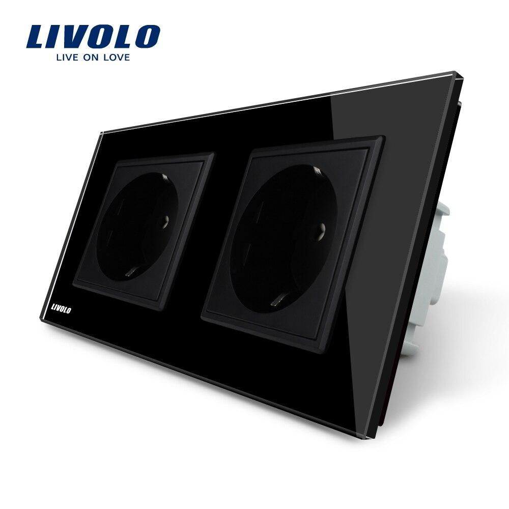 Livolo fabricante UE enchufe de pared estándar, Panel de cristal negro, AC110 ~ 250 V 16A toma VL-C7C2EU-12