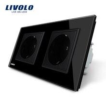 Производитель, Livolo ЕС Стандартный стены Мощность разъем, Черный Кристалл Стекло Панель, AC110 ~ 250 В 16A розетки VL-C7C2EU-12