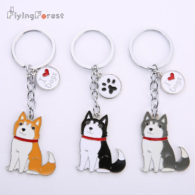 DIY Dog Key Chain Alaska Dog Husky Dogs Keychains Woman Pet Key Holder Metal Anime Keychain Keyring Jewelry Bag