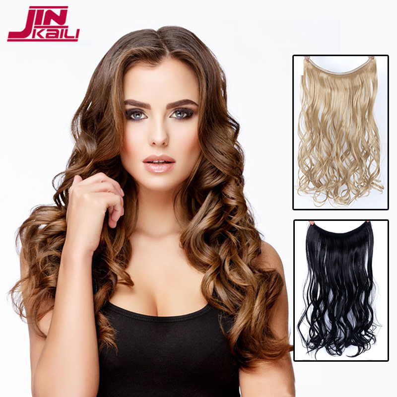 JINKAILI Long 24 inch Real Natural hair Invisible Wire in Synthetic Hair Extensions No C ...