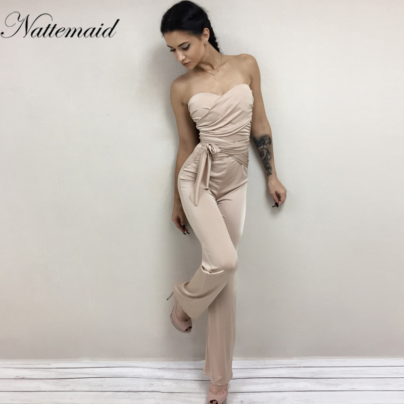 a37d47805cf9 NATTEMAID Autumn rompers womens jumpsuit women Bandage strapless slash neck  Bodycon overalls Solid club sexy Rompers