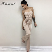 2016 Bandage Bodysuits Women Strapless Jumpsuits Long Pants Bodycon Solid Khaki Sexy Club Rompers Maillots De