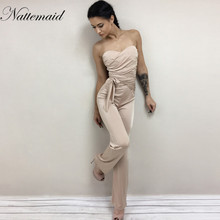 NATTEMAID Autumn rompers womens jumpsuit women Bandage strapless slash neck Bodycon overalls Solid club sexy  Rompers for women