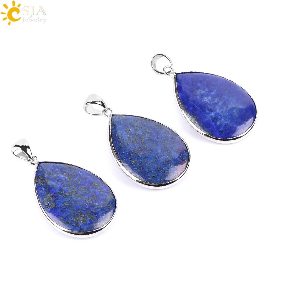 CSJA Blue Lapis Lazuli Teardrop Water Drop Necklaces Pendants Reiki Natural Gem Stone Bead Healthy Healing Chakra Jewellery E794